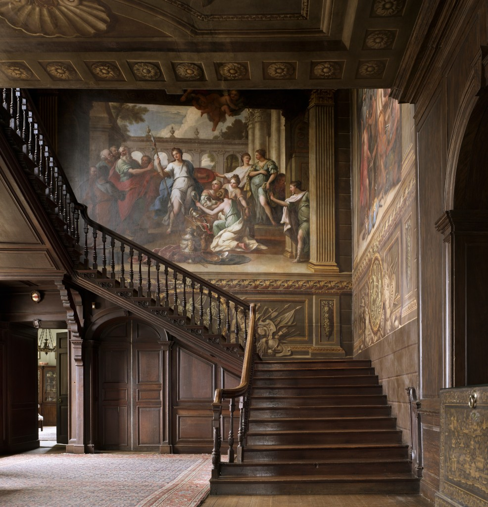 The Painted Staircase in the Hall at Hanbury Hall, Worcestershire. The Staircase was painted by Sir James Thornhill (1675-1734), c.1710.