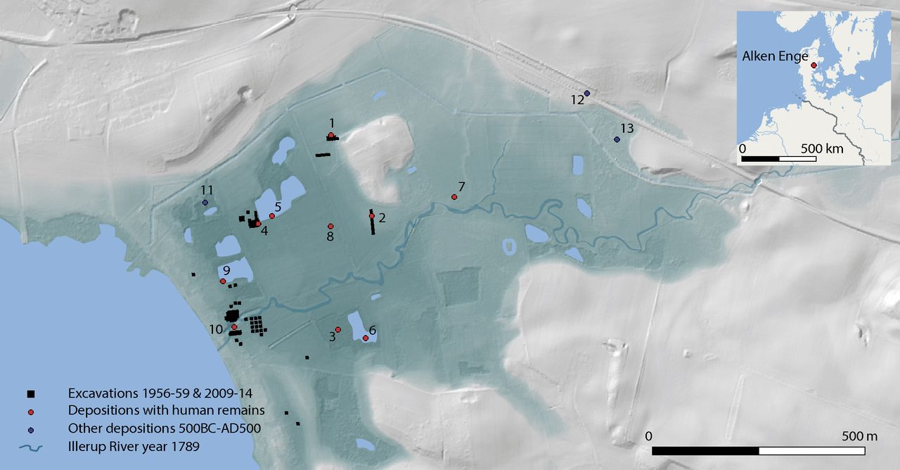 LiDAR elevation model of Alken Enge showing excavation areas, previously uncovered finds