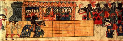Henry VIII held a jousting tournament at Westminster to celebrate the birth of his baby son