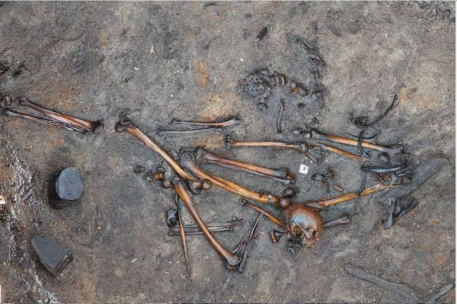 One of the nearly 400 slaughtered barbarians thought to be buried at Alken Enge in Denmark. Credit: Holst et al./ PNAS/ CC by 4.0
