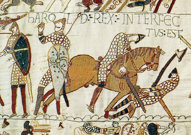 "Harold Rex Interfectus Est: ""King Harold was killed"". Scene from the Bayeux Tapestry depicting the Battle of Hastings and the death of Harold."