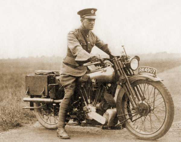 Lawrence of Arabia astride his Brough Motorcycle