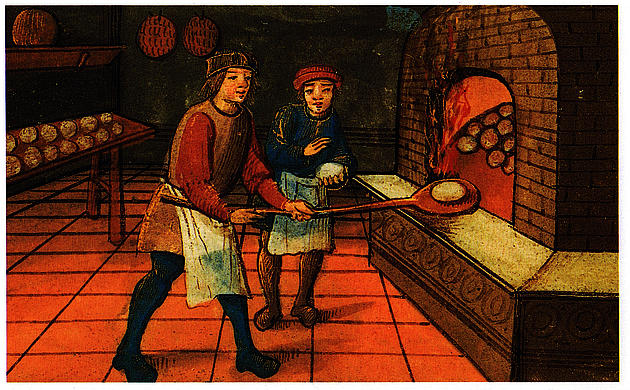 A medieval baker with his apprentice. The Bodleian Library, Oxford