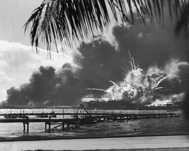 The USS Shaw exploding during the attack on Pearl Harbour, 7 December 1941