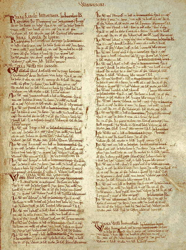 Page excerpt from the Domesday Book