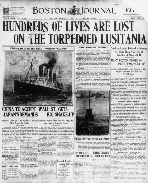 The Lusitania Sunk