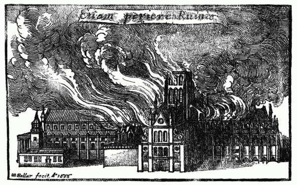 Wenceslaus Hollar, Old St Paul's Cathedral in Flames during the Great Fire of London