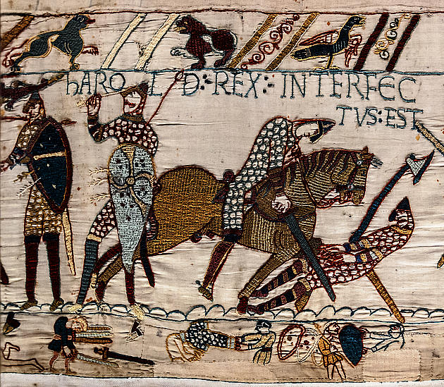 Harold's death portrayed on the Bayeux Tapestry
