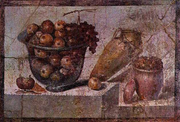 Still life with fruit basket and vases, Pompeii AD 70