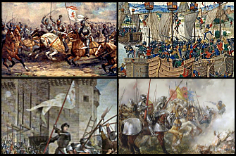 Photo montage of the Hundred Years War