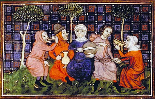 Travellers sharing a simple meal; Livre du roi Modus et de la reine Ratio, 14C.