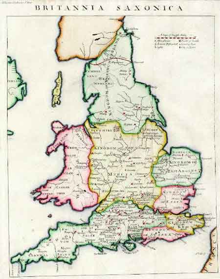 Map Of England During Anglo Saxon Times.Anglo Saxon Place Names